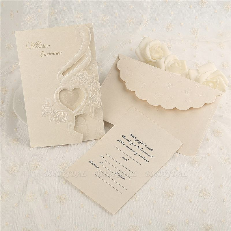 BMbridal Classic Tri-Fold Heart Hollow Style Invitation Cards (Set of 50)