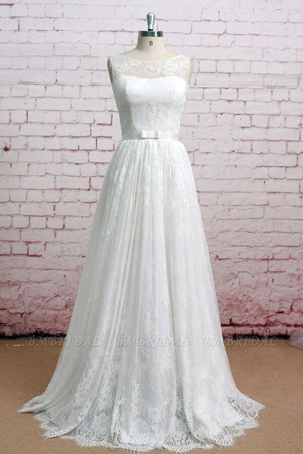 BMbridal Graceful Floor Length Lace A-line Wedding Dress Online