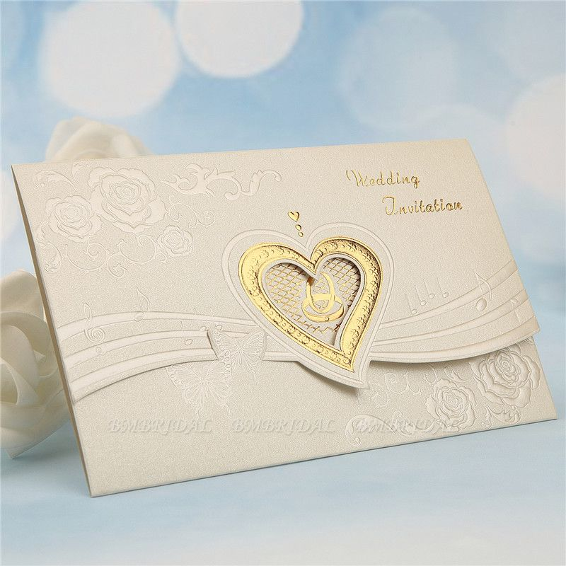 BMbridal Classic Tri-Fold Hollow Heart Style Invitation Cards (Set of 50)