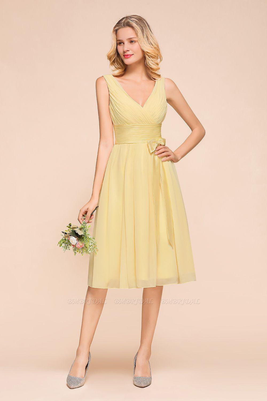 BMbridal Affordable V-Neck Daffodil Chiffon Short Bridesmaid Dress with Ruffle