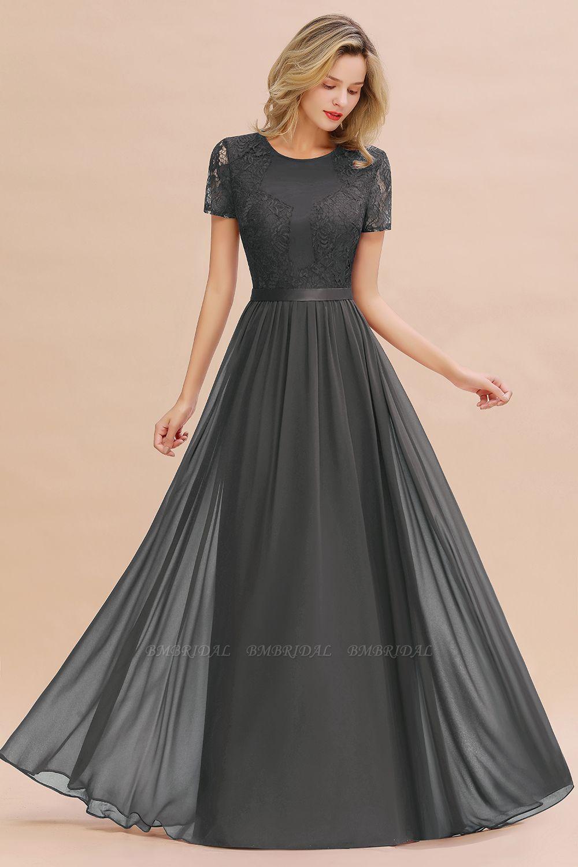 Elegant Chiffon Lace Jewel Short-Sleeves Affordable Bridesmaid Dress