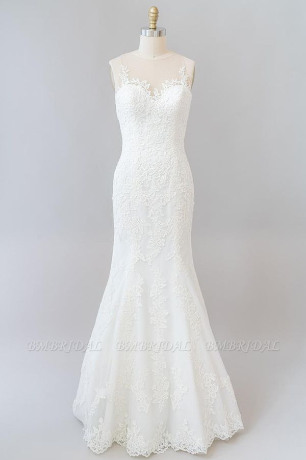 BMbridal Graceful Illusion Appliques Mermaid Wedding Dress On Sale