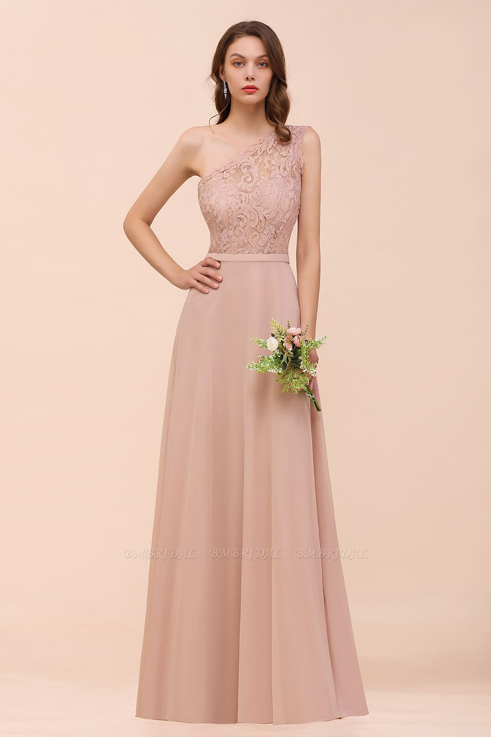 New Arrival Dusty Rose One Shoulder Lace Long Affordable