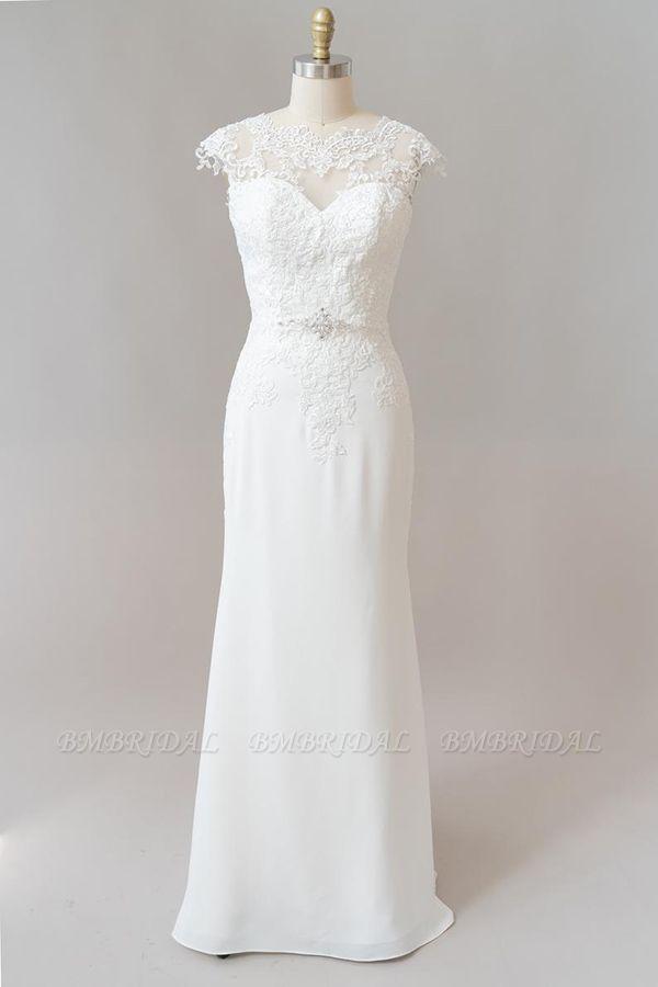 BMbridal Cap Sleeve Illusion Lace Sheath Wedding Dress On Sale