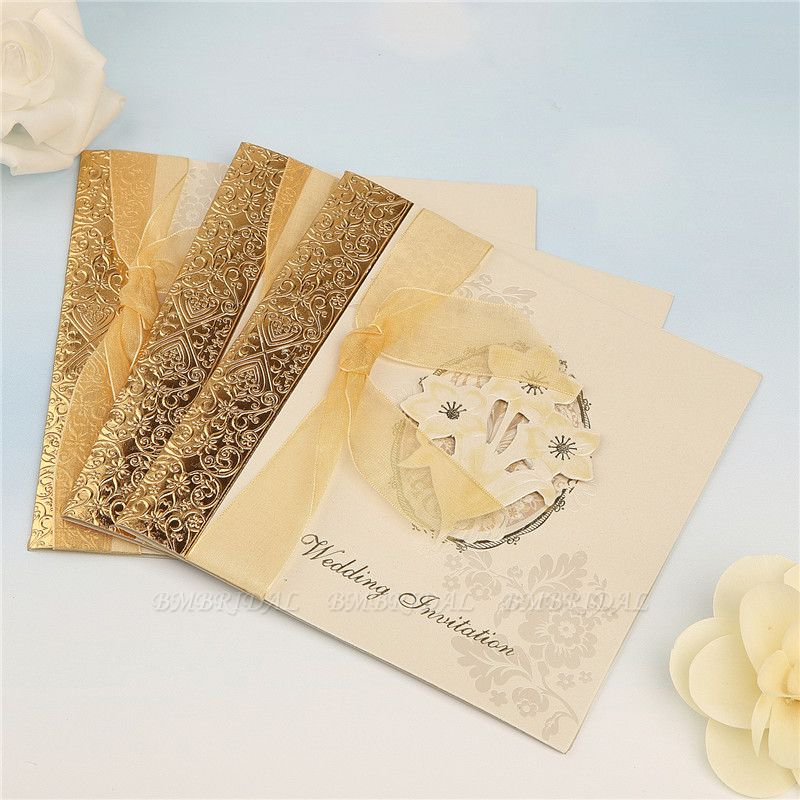 Classic Side-Fold Bowknot Style Hollow Invitation Cards (Set of 50)