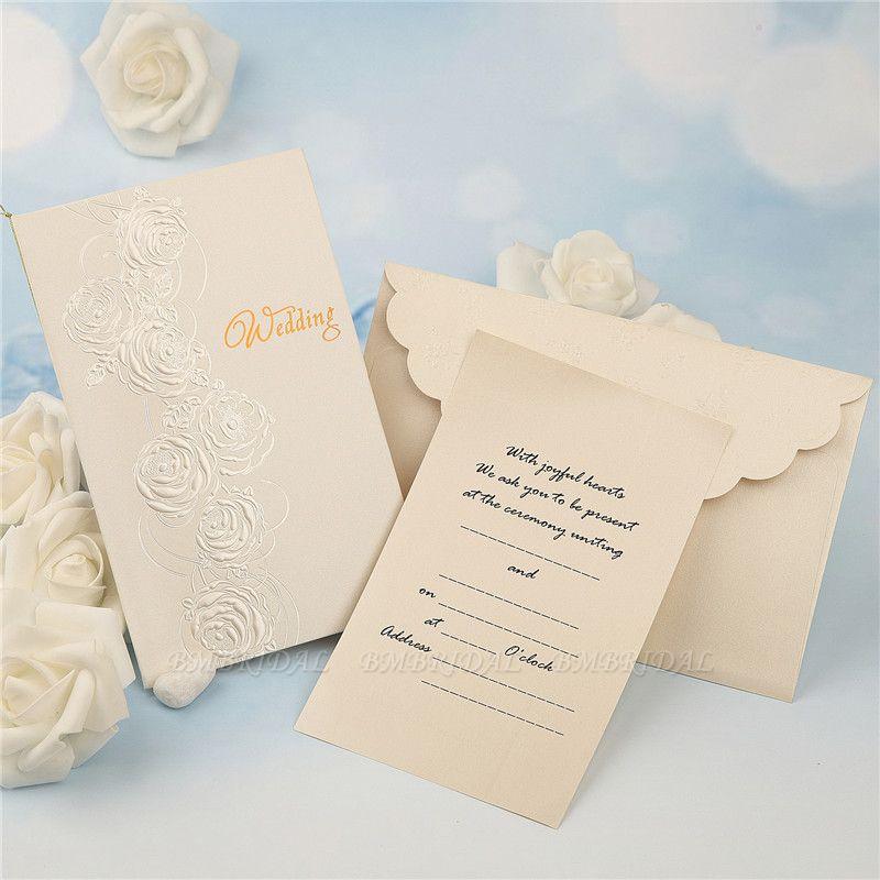 Modern Tri-Fold Imprint Flower Invitation Cards (Set of 50)