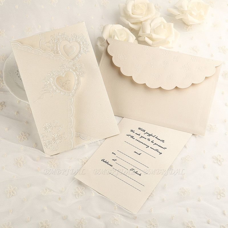 Elegant Tri-Fold Invitation Cards Heart Style (Set of 50)