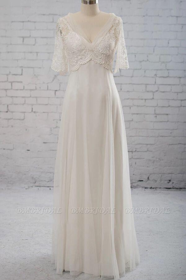 BMbridal Elegant Empire V-neck Tulle Wedding Dress A-line Appliques Short Sleeves Bridal Gowns On Sale