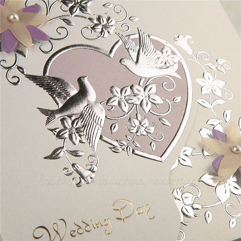 Modern Tri-Fold Heart Style Invitation Cards (Set of 50)