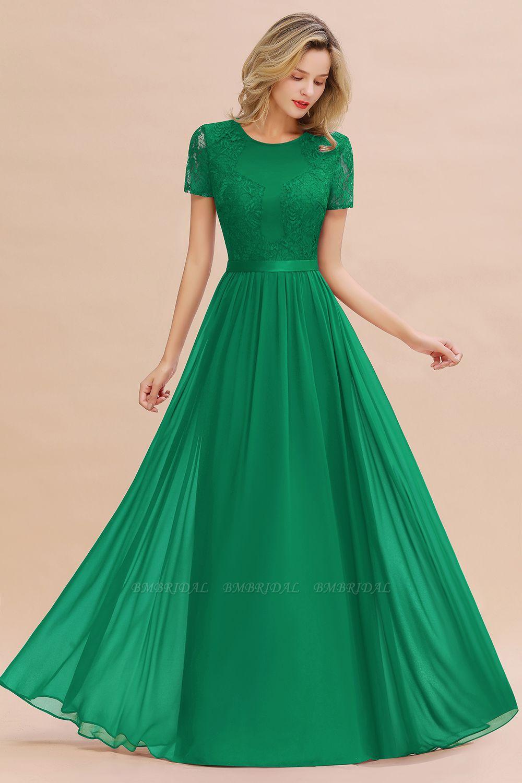 Burgundy Short Sleeves Lace Bridesmaid Dresses Bmbridal