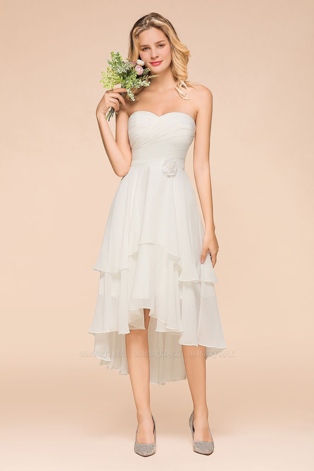 Affordable Hi-Lo Layer Ruffle Ivory Short Bridesmaid Dress with Flower