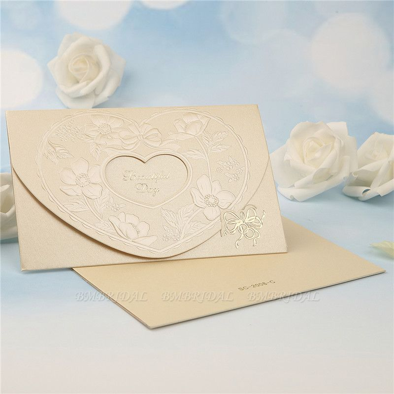 BMbridal Popular Tri-Fold Hollow Heart Style Invitation Cards (Set of 50)