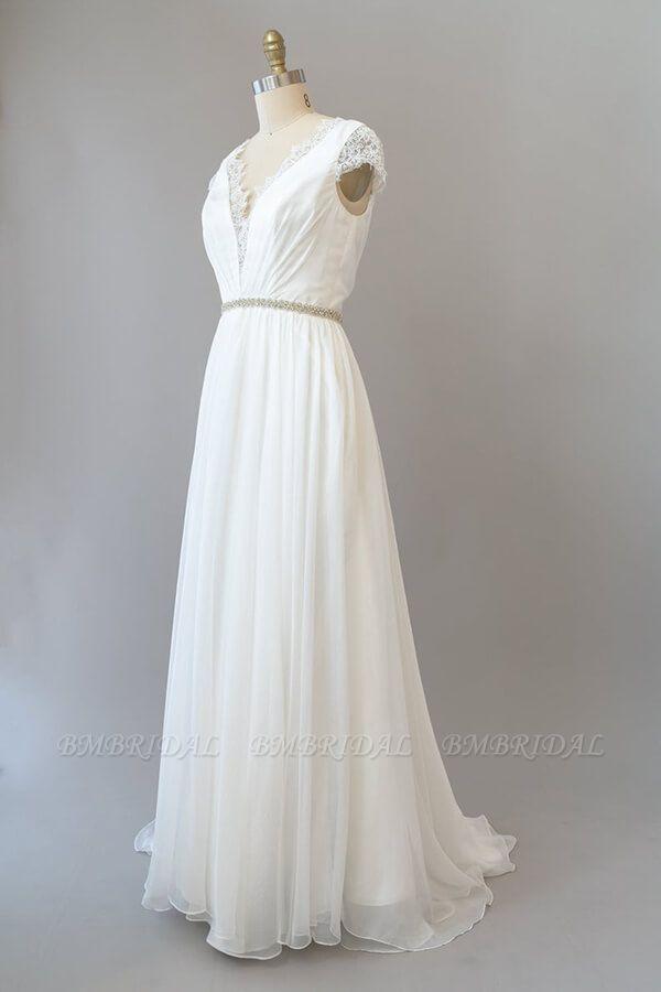 BMbridal Cap Sleeve V-neck Lace Chiffon Sheath Wedding Dress Online
