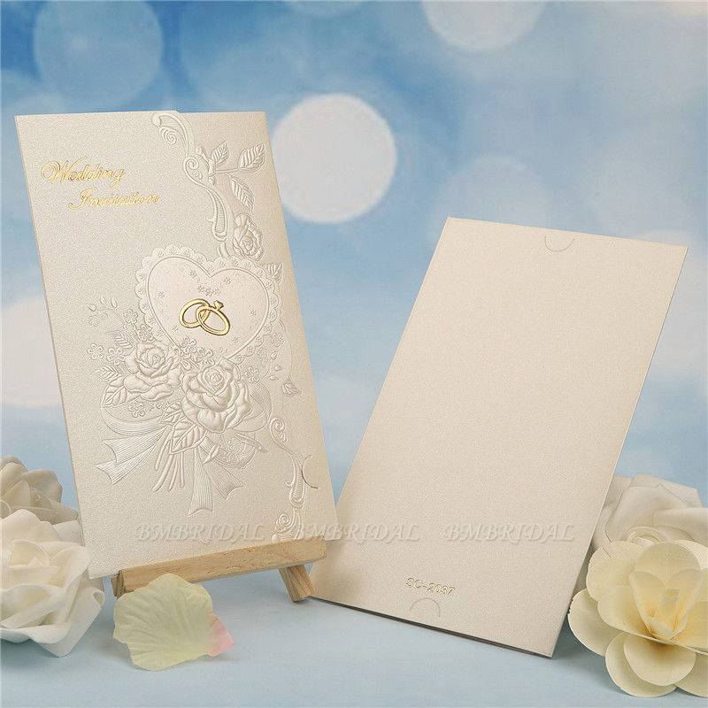 Classic Tri-Fold Imprint Flower Invitation Cards (Set of 50)
