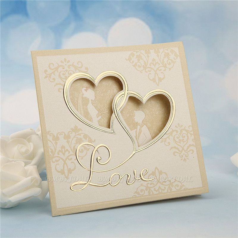 BMbridal Modern Tri-Fold Hollow Heart Style Invitation Cards (Set of 50)