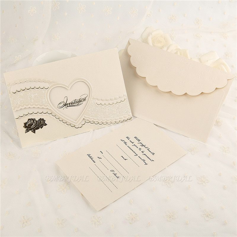 BMbridal Modern Tri-Fold Heart Hollow Style Invitation Cards (Set of 50)
