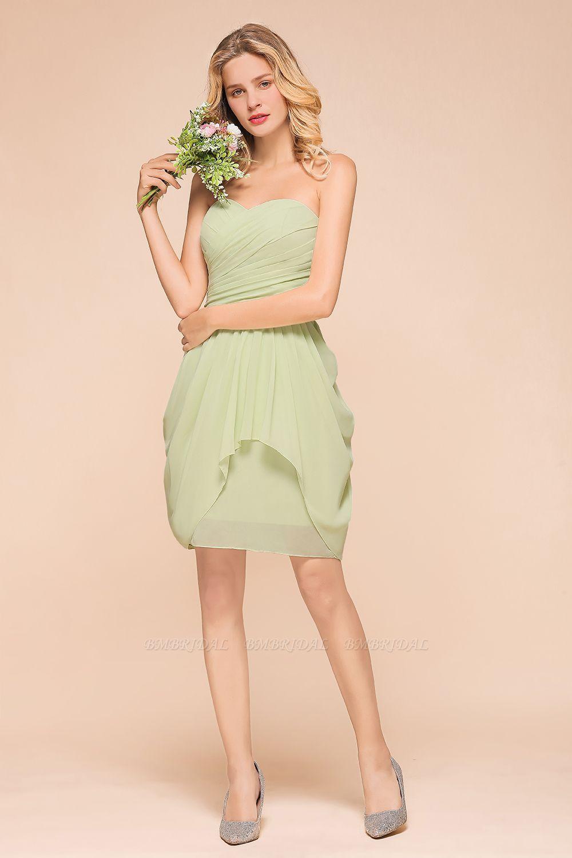 Chic Chiffon Sweetheart Short Bridesmaid Dresses with Ruffle