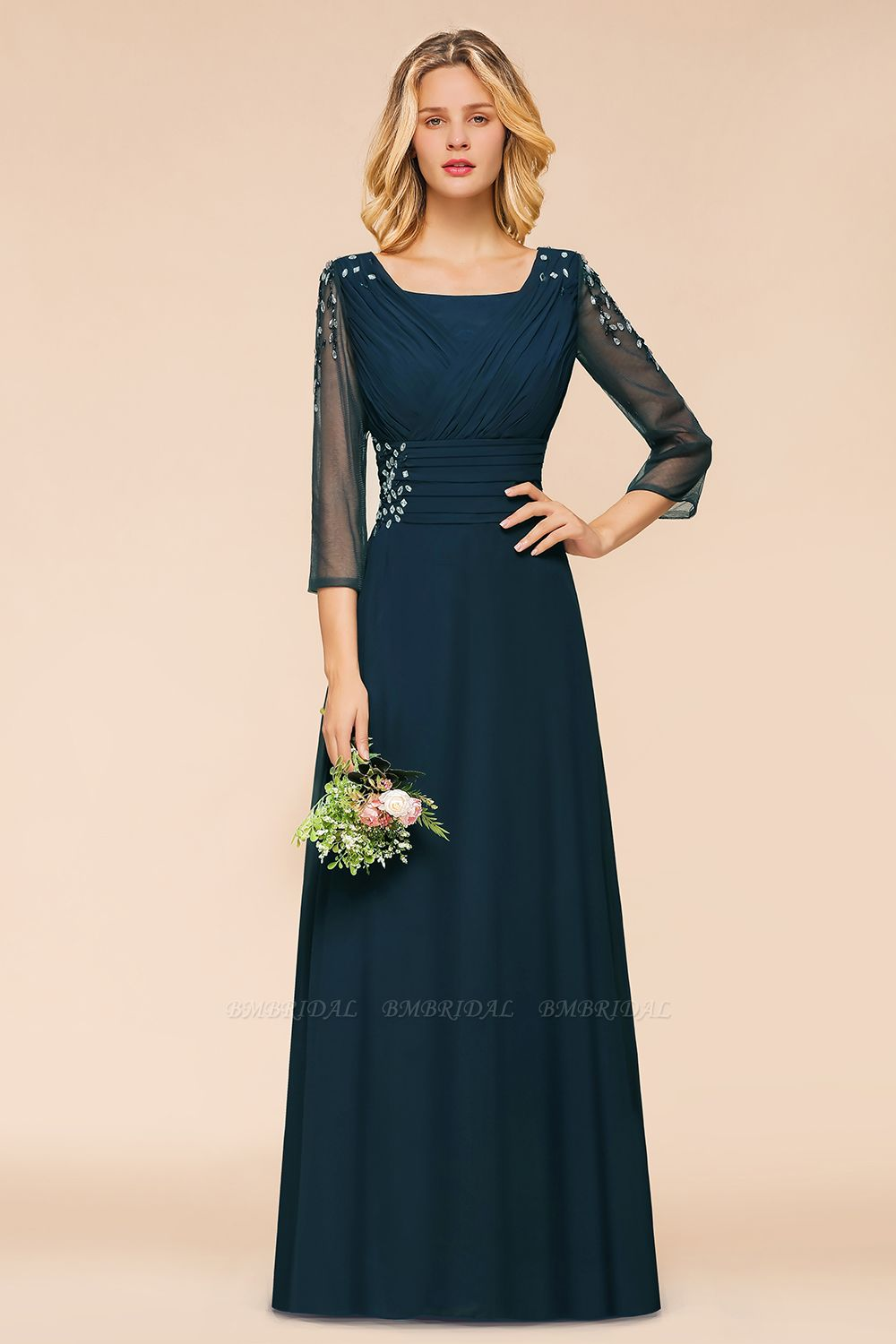 BMbridal Elegant 3/4 Sleeves Ruffle Navy Chiffon Bridesmaid Dresses with Beadings