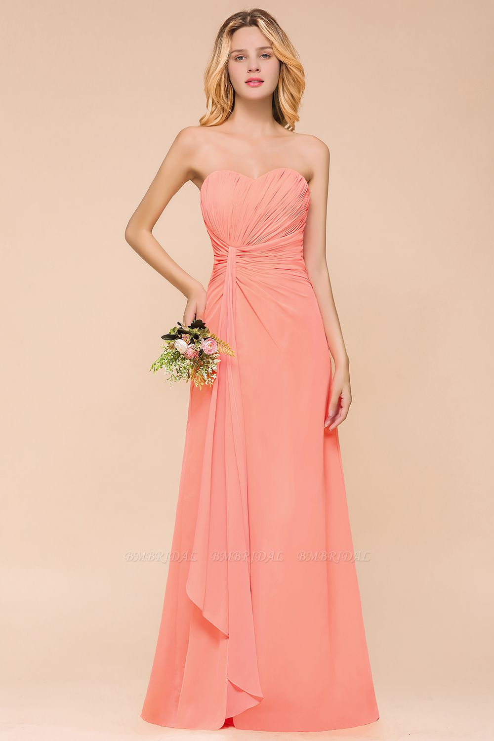 Stylish Sweetheart Ruffle Affordable Coral Chiffon Bridesmaid Dresses Online