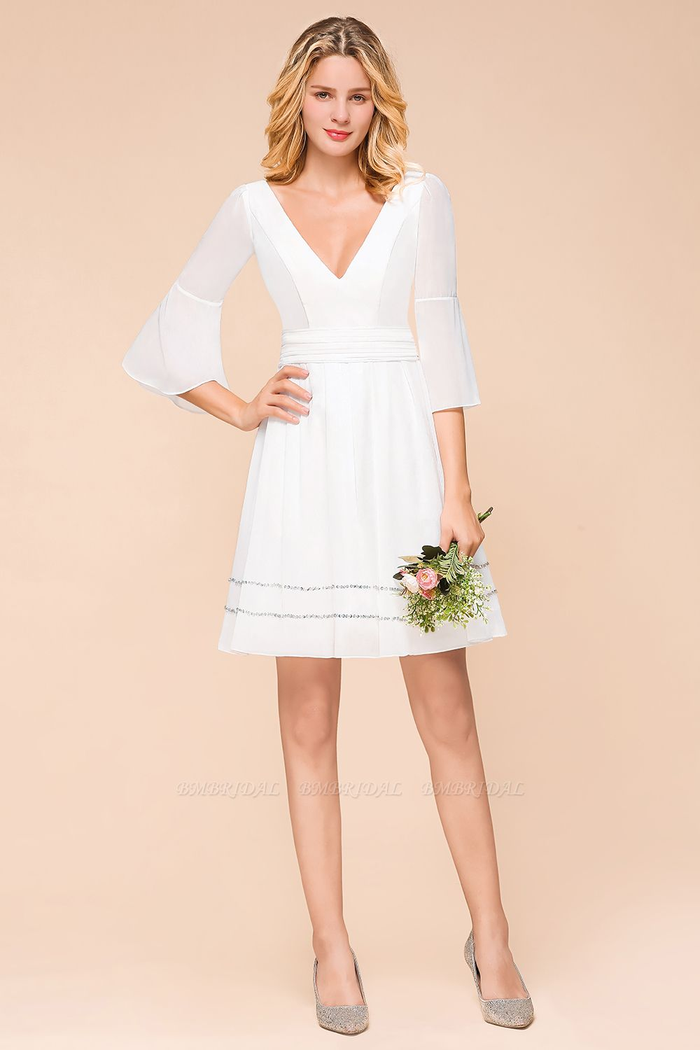 Chic V-Neck 3/4 Sleeves Short White Bridesmaid Dress with Sequins