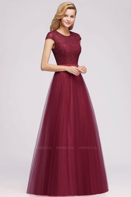 BMbridal A-line Jewel Tulle Lace Bridesmaid Dress