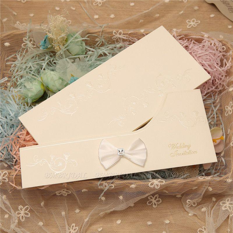 Modern Side-Fold Crystal Bowknot Style Invitation Cards (Set of 50)