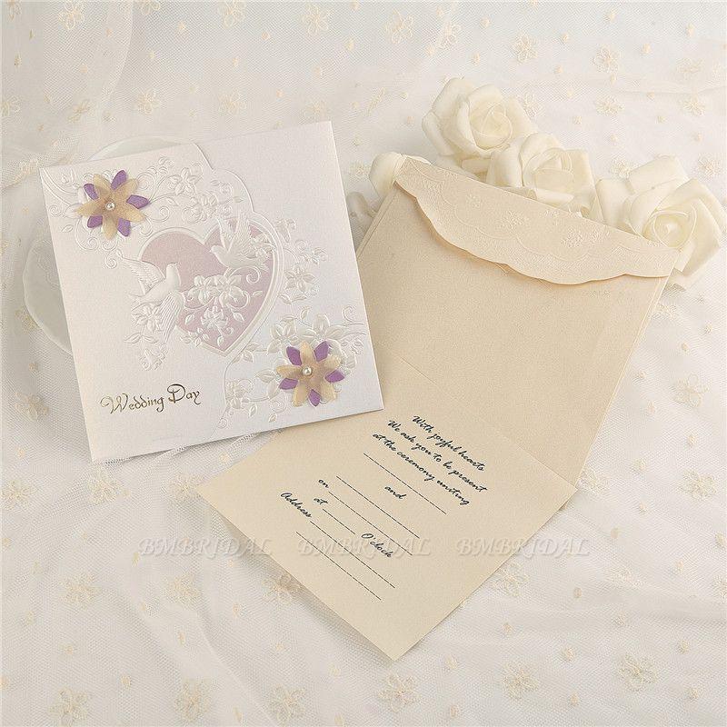 Classic Side-Fold Heart Imprint Invitation Cards (Set of 50)