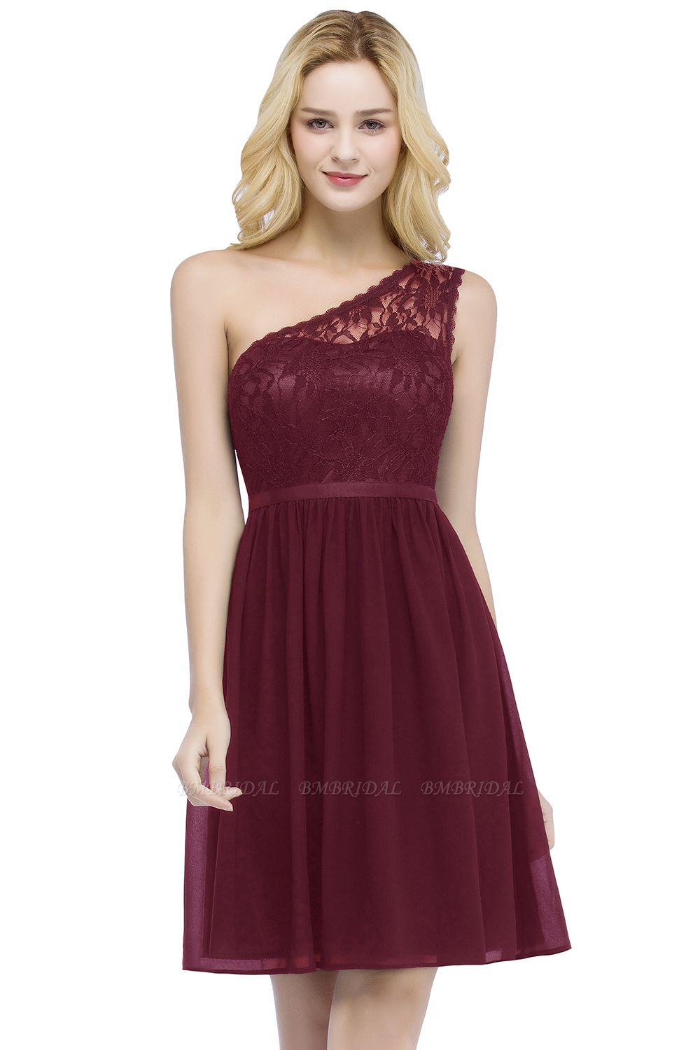 BMbridal Affordable A-line Chiffon One-shoulder Lace Top Short Bridesmaid Dresses In Stock