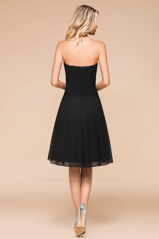 Affordable Sweetheart Ruffle Short Black Bridesmaid Dress