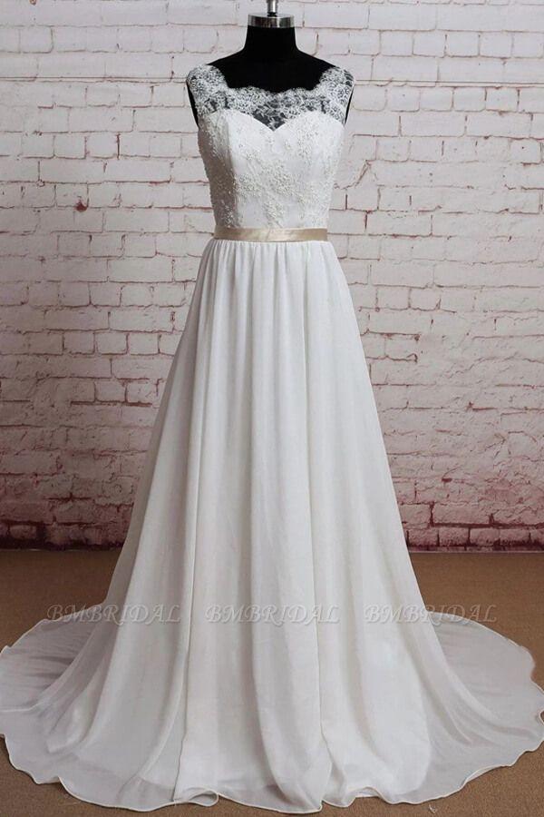 BMbridal Elegant Lace Chiffon A-line Wedding Dress Online