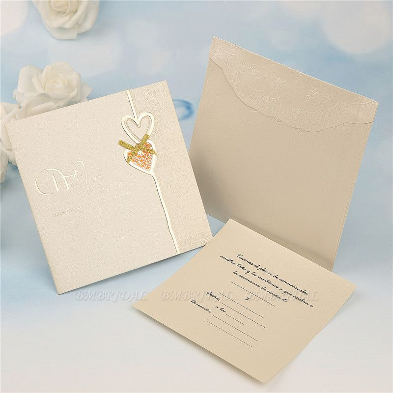 BMbridal Modern Tri-Fold Heart Bowknot Invitation Cards (Set of 50)