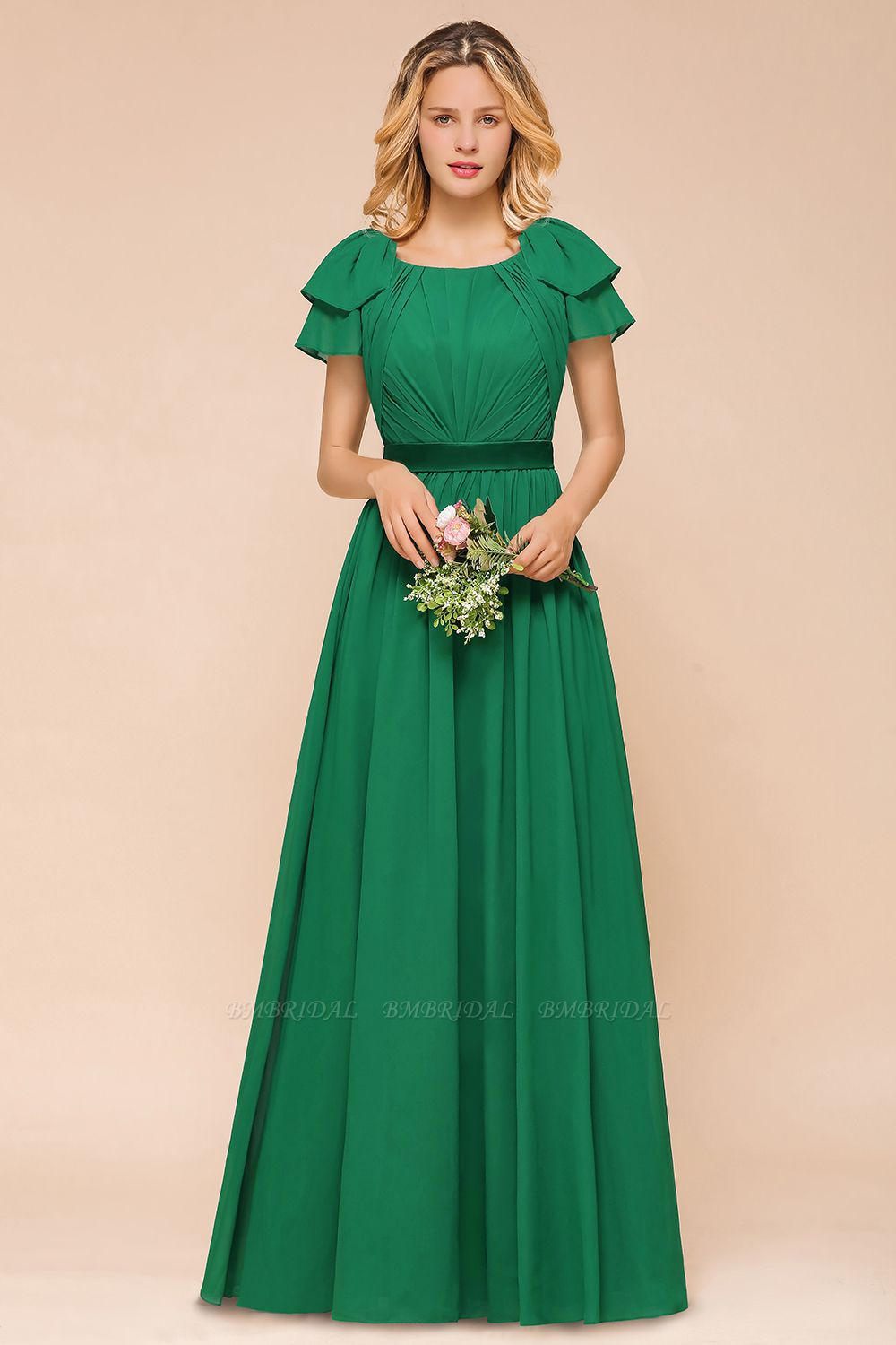 Emerald Short Sleeves Chiffon Ruffles Long Bridesmaid Dresses Online