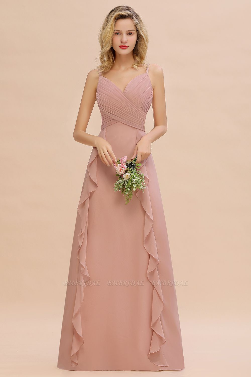 Chiffon Long Sleeveless Bridesmaid Dress with Cascading Ruffles