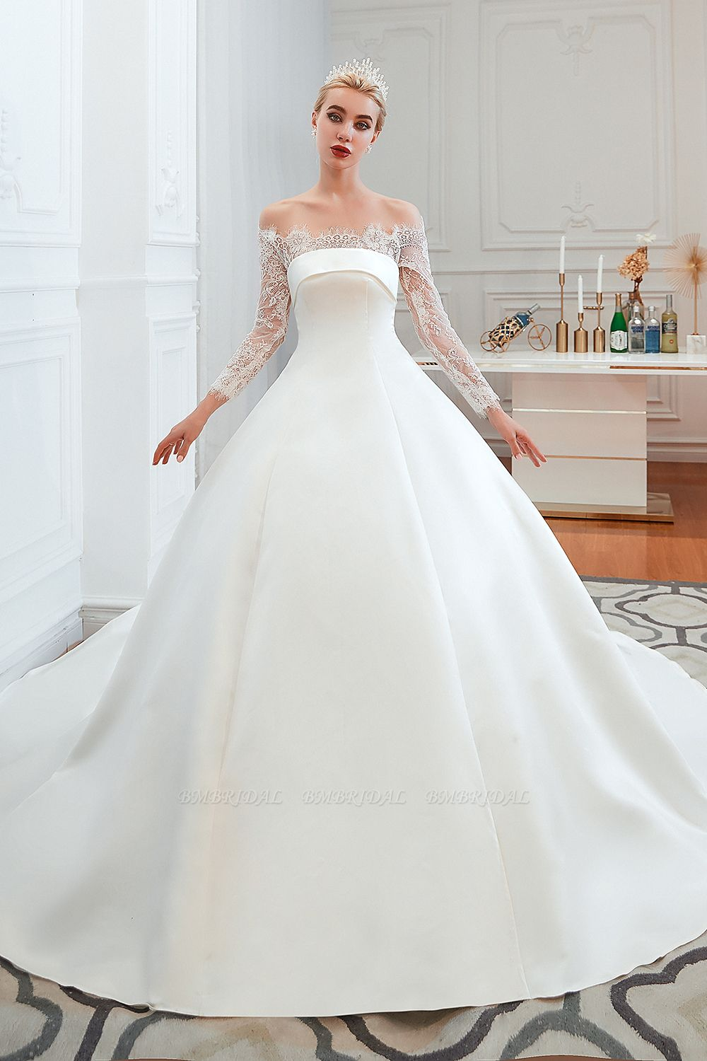 BMbridal Long Sleeve Off-the-Shoulder Satin Wedding Dress With Lace