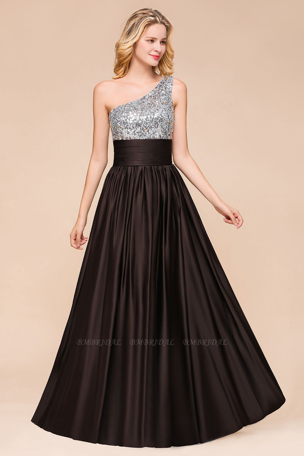Affordable One Shoulder Sequins Long Bridesmaid Dresses with Ruffle