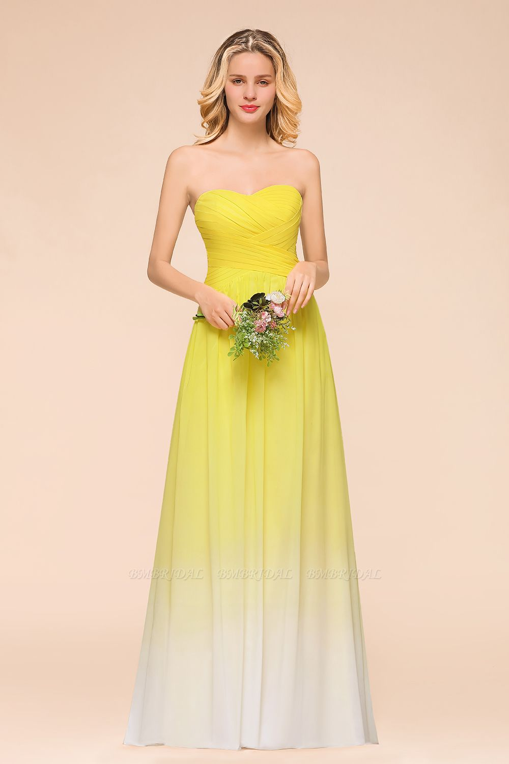 BMbridal Fashionable Sweetheart Ruffle Yellow Ombre Bridesmaid Dress