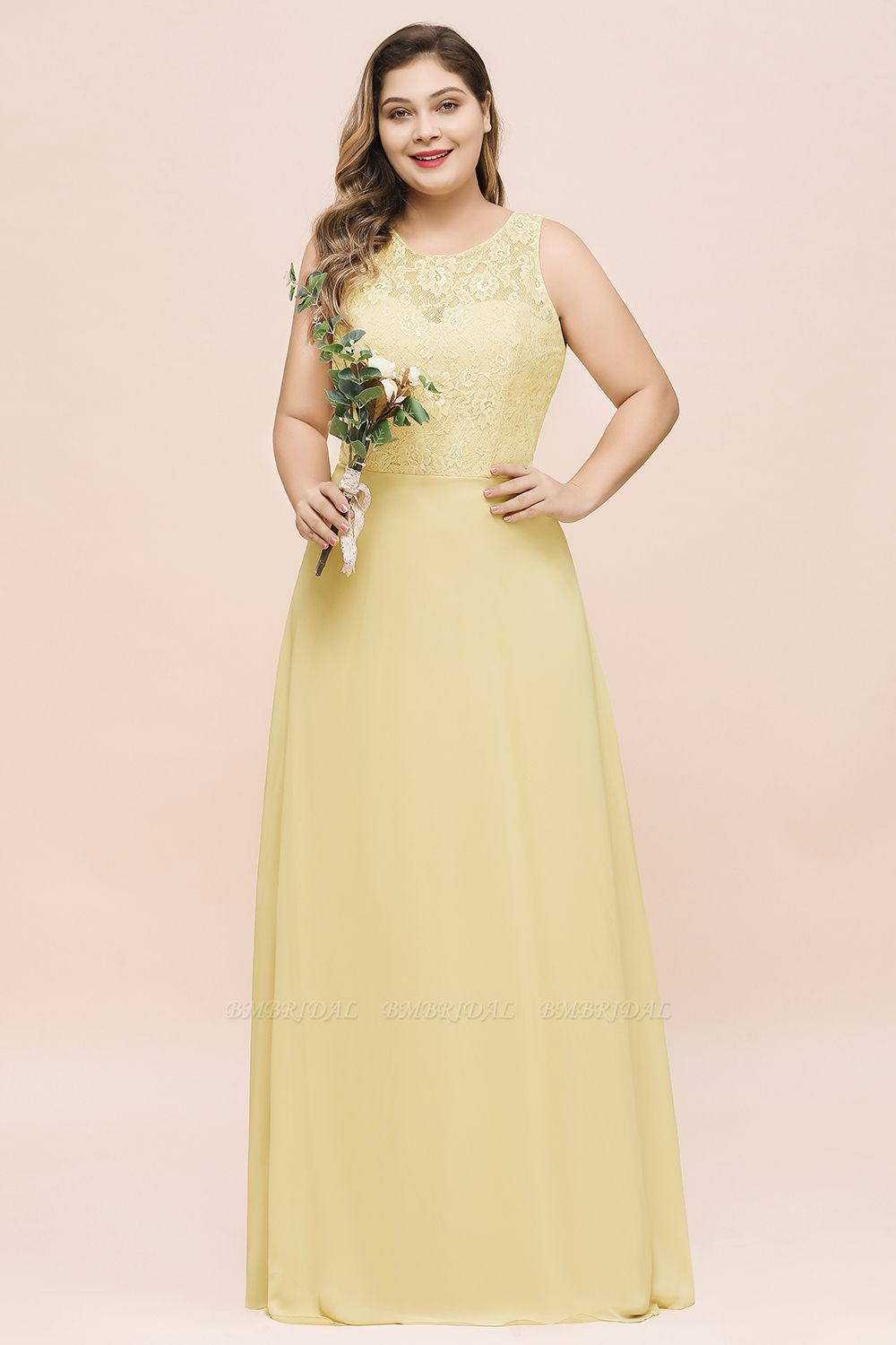 BMbridal Plus Size Lace Sleeveless Affordable Daffodil Bridesmaid Dress