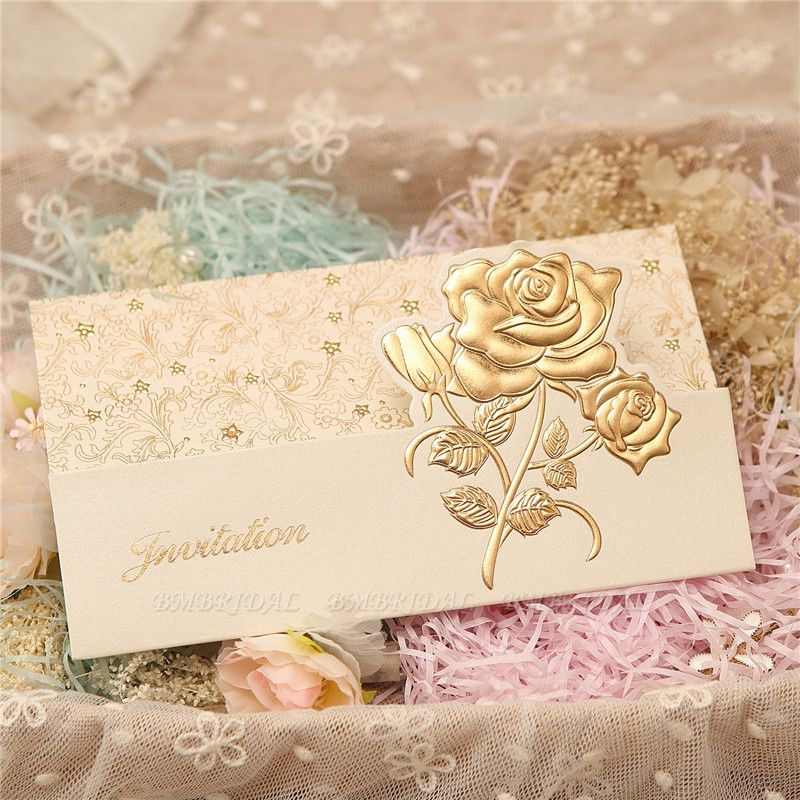 BMbridal Classic Tri-Fold Flower Style Invitation Cards (Set of 50)