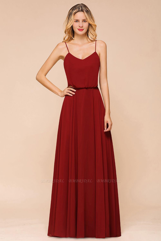BMbridal Rust Spaghetti-Starps Long Chiffon Bridesmaid Dresses Online