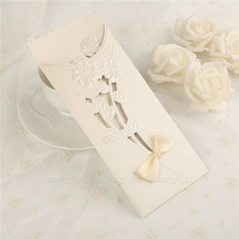 Classic Side-Fold Hollow Bowknot Imprint Invitation Cards (Set of 50)