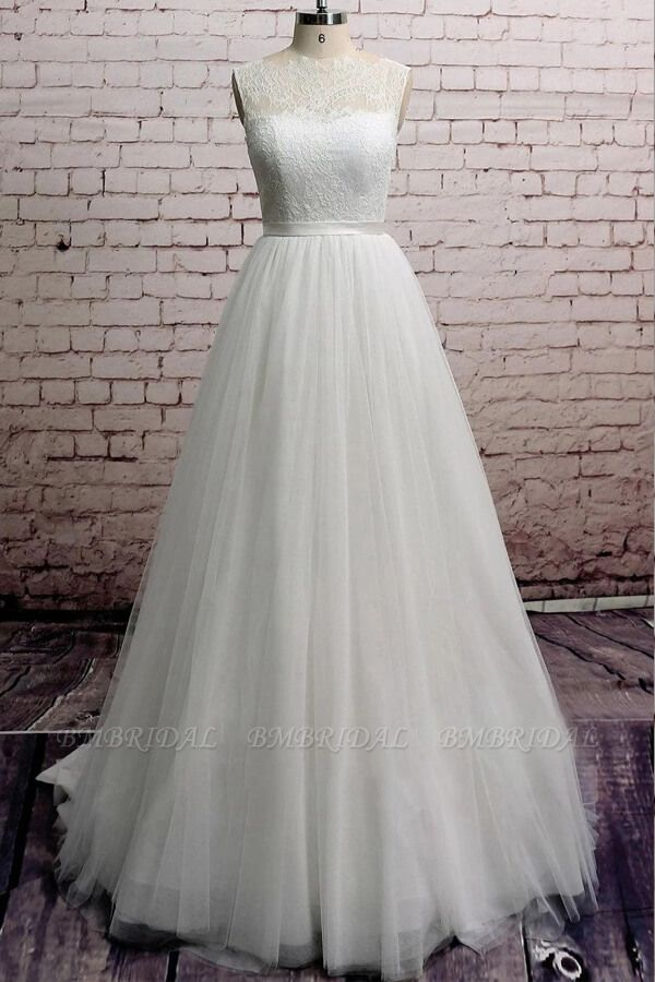 BMbridal Illusion Lace Tulle Chapel Train Wedding Dress Online