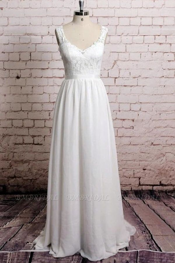 BMbridal Awesome V-neck Lace Chiffon A-line Wedding Dress Online