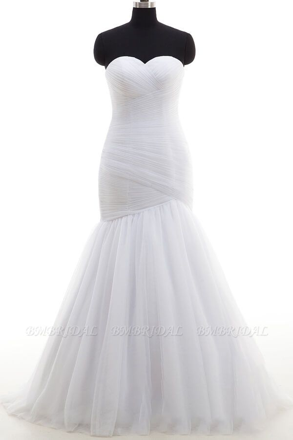 BMbridal Strapless Ruffle Tulle Mermaid Wedding Dress On Sale