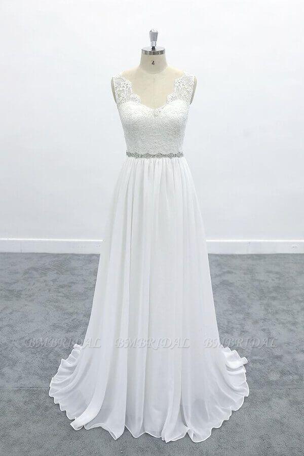 BMbridal Awesome V-neck A-line Lace Chiffon Wedding Dress On Sale