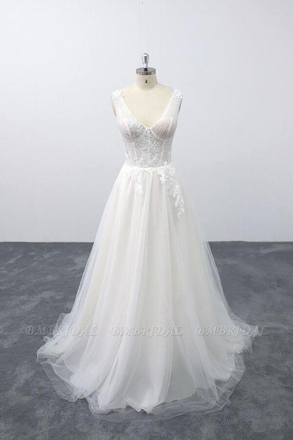 BMbridal Lace-up V-neck Appliques Tulle A-line Wedding Dress On Sale