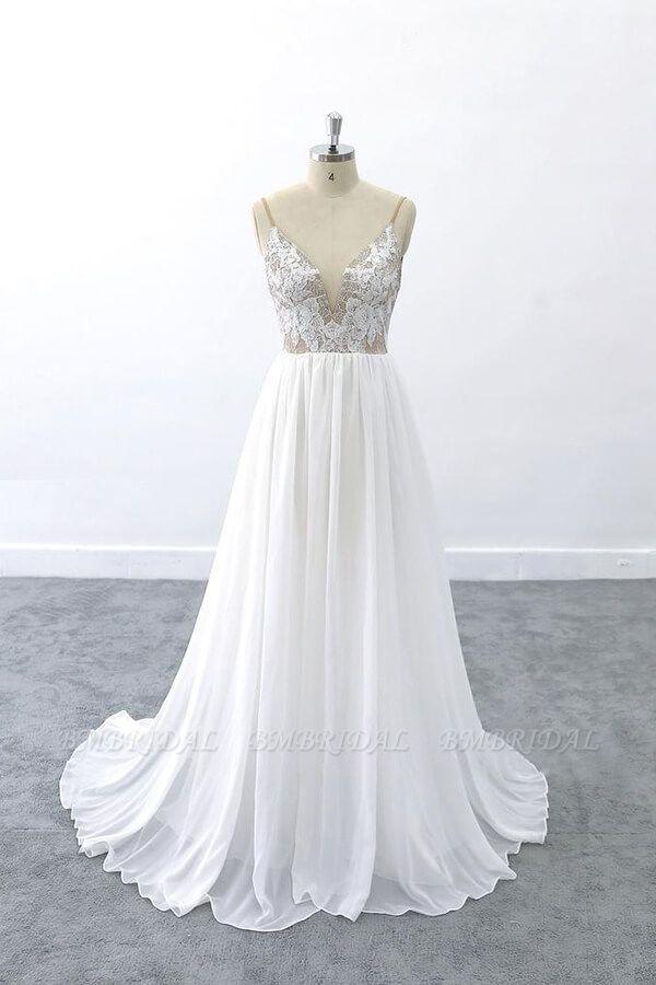 BMbridal Graceful V-neck Lace Chiffon A-line Wedding Dress On Sale