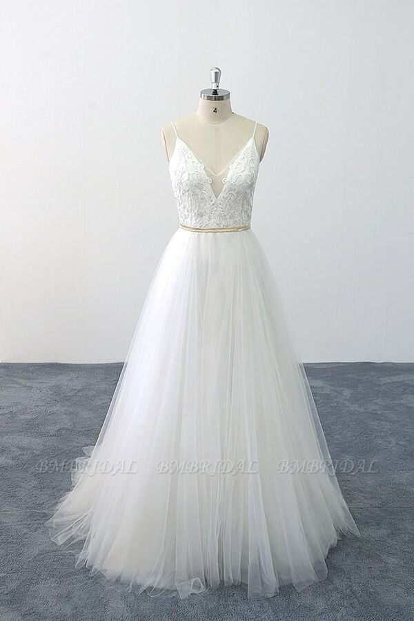 BMbridal Chic Spaghetti Strap Appliques Tulle Wedding Dress On Sale