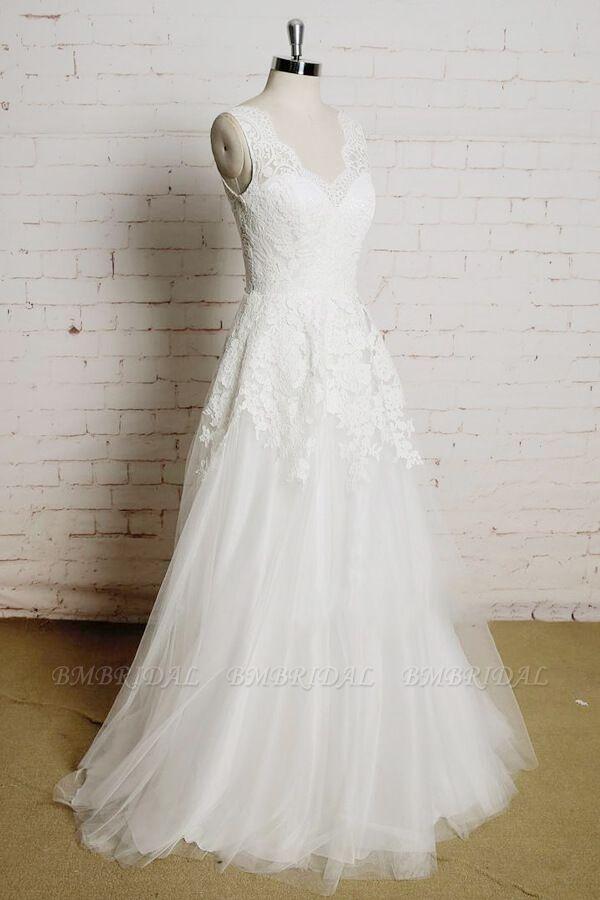 BMbridal Chic V-neck Appliques Tulle A-line Wedding Dress On Sale