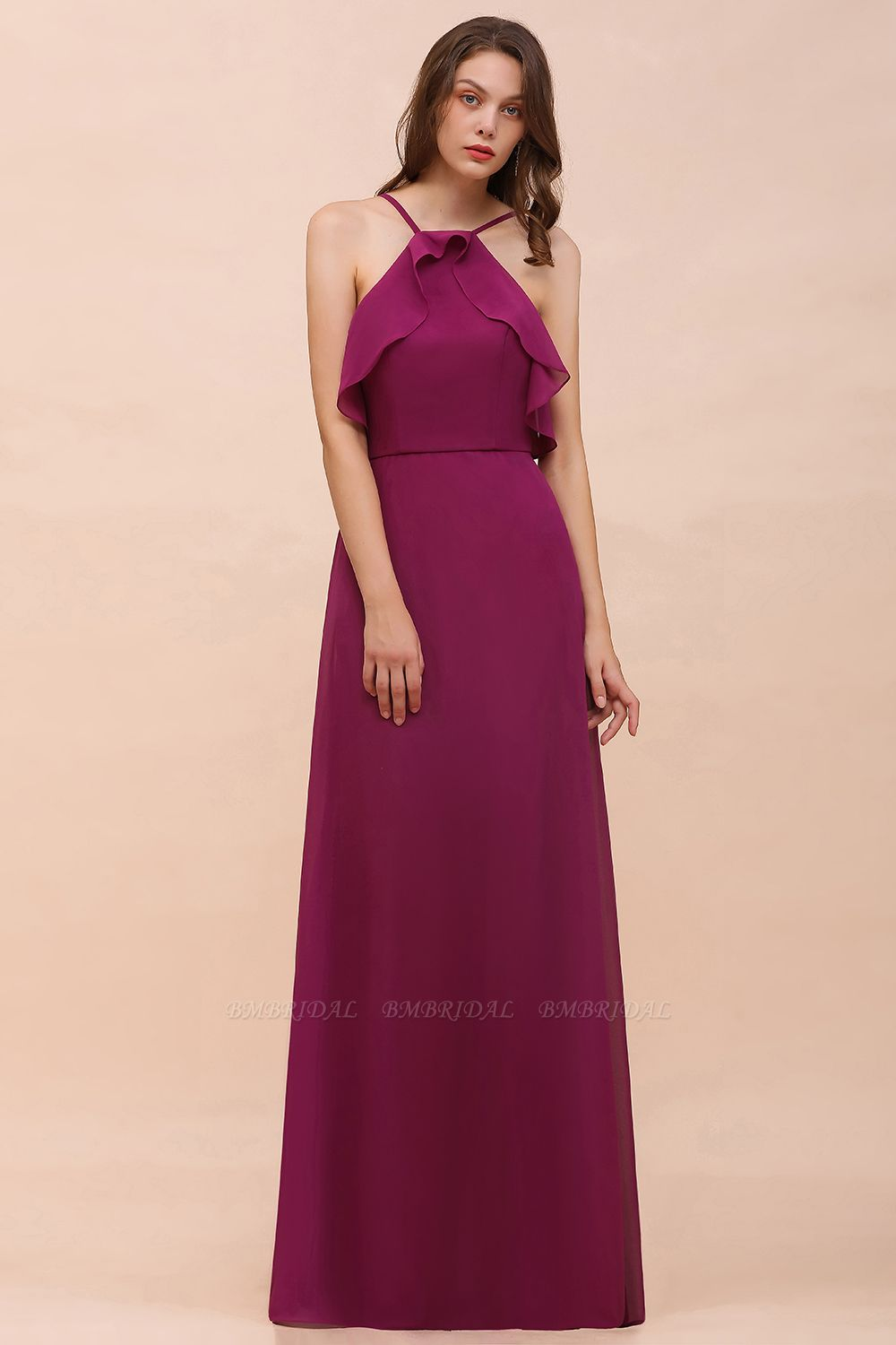 Stylish Spaghetti Straps Mulberry Chiffon Bridesmaid Dress with Ruffles