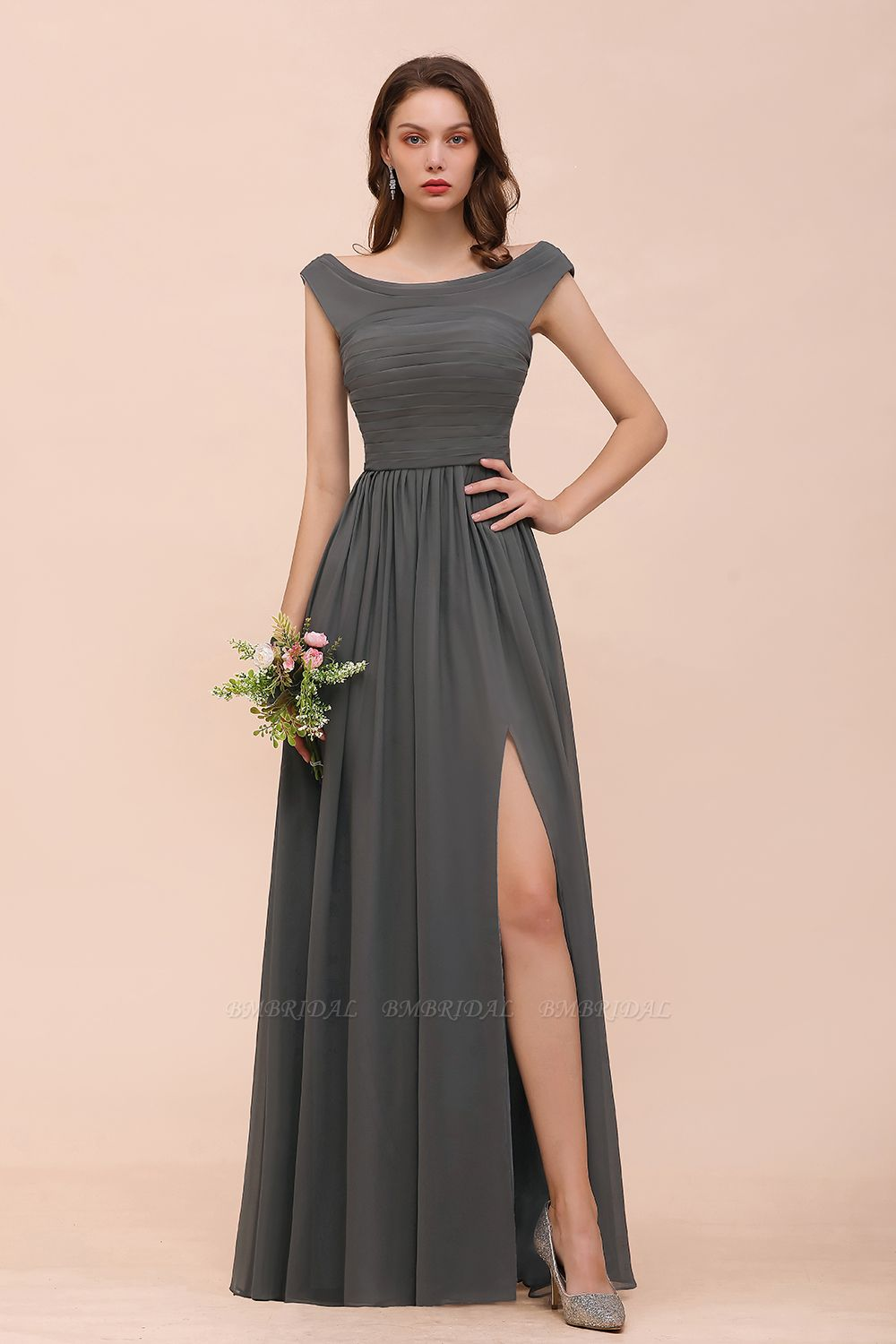Steel Grey Off The Shoulder Ruffle Bridesmaid Dress with Slit